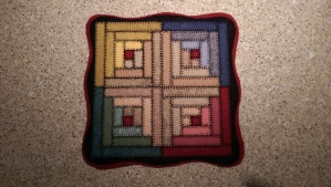 Wool Log Cabin candle Mat